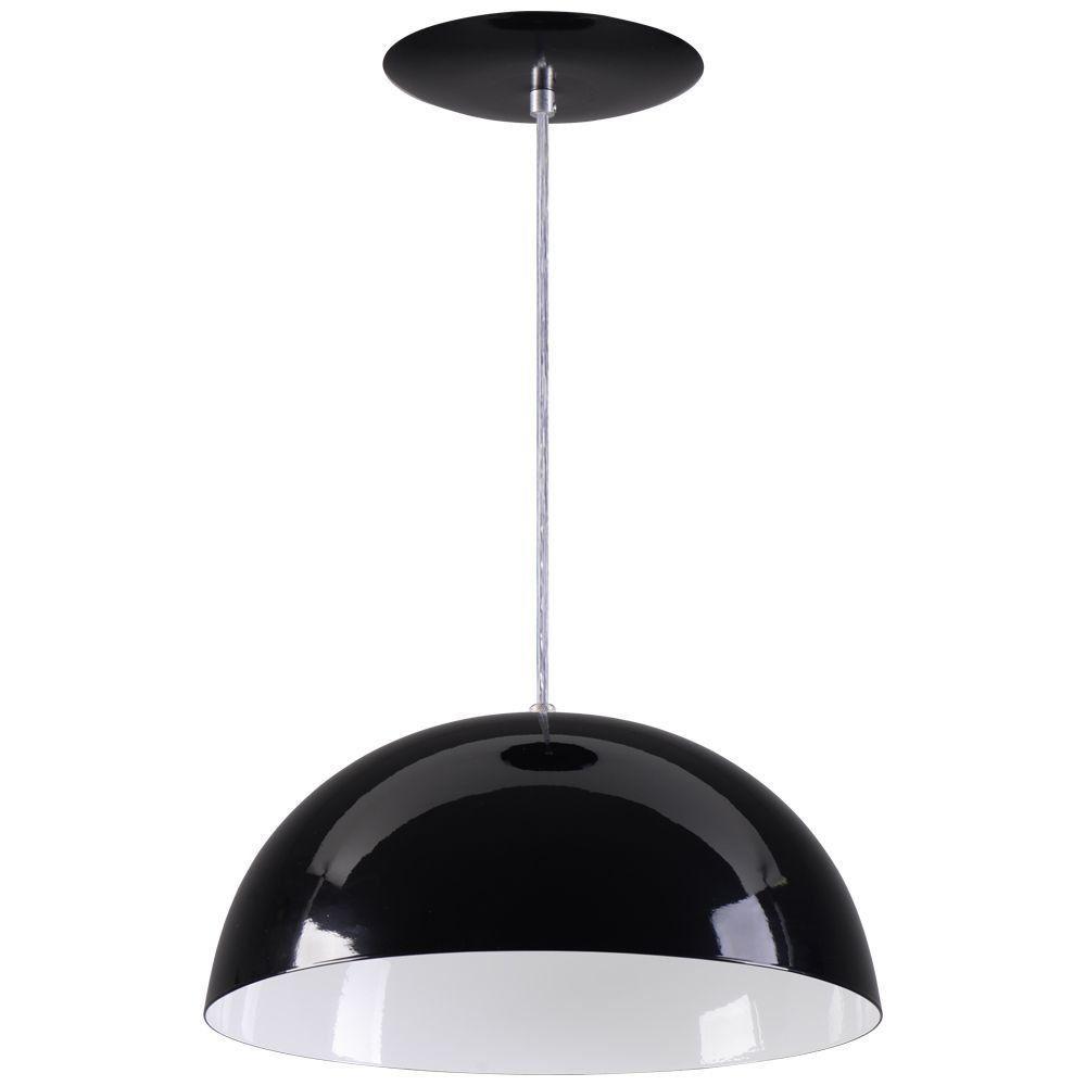 Pendente Meia Lua 50cm Luminária Alumínio Preto Textura - Rei da Iluminação
