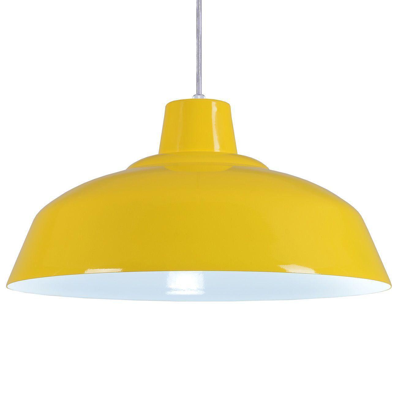 Pendente Retrô 34cm Luminária Lustre Alumínio Amarelo - Rei Da Iluminação