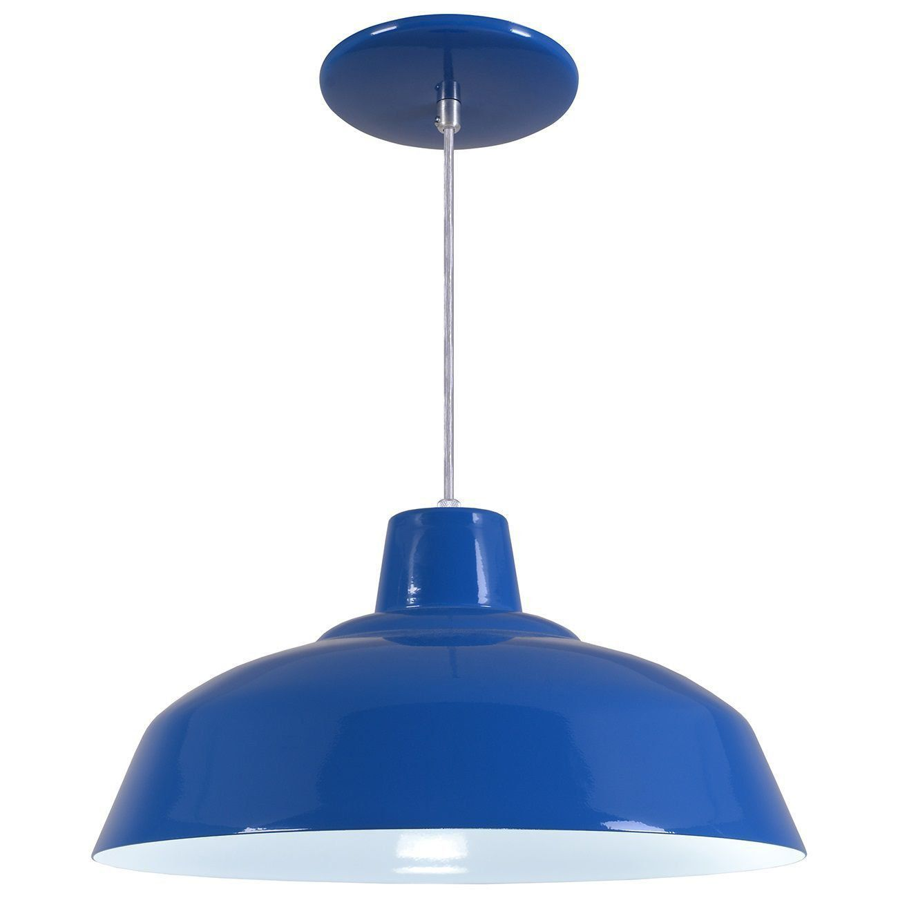 Pendente Retrô 34cm Luminária Lustre Alumínio Azul Royal - Rei Da Iluminação