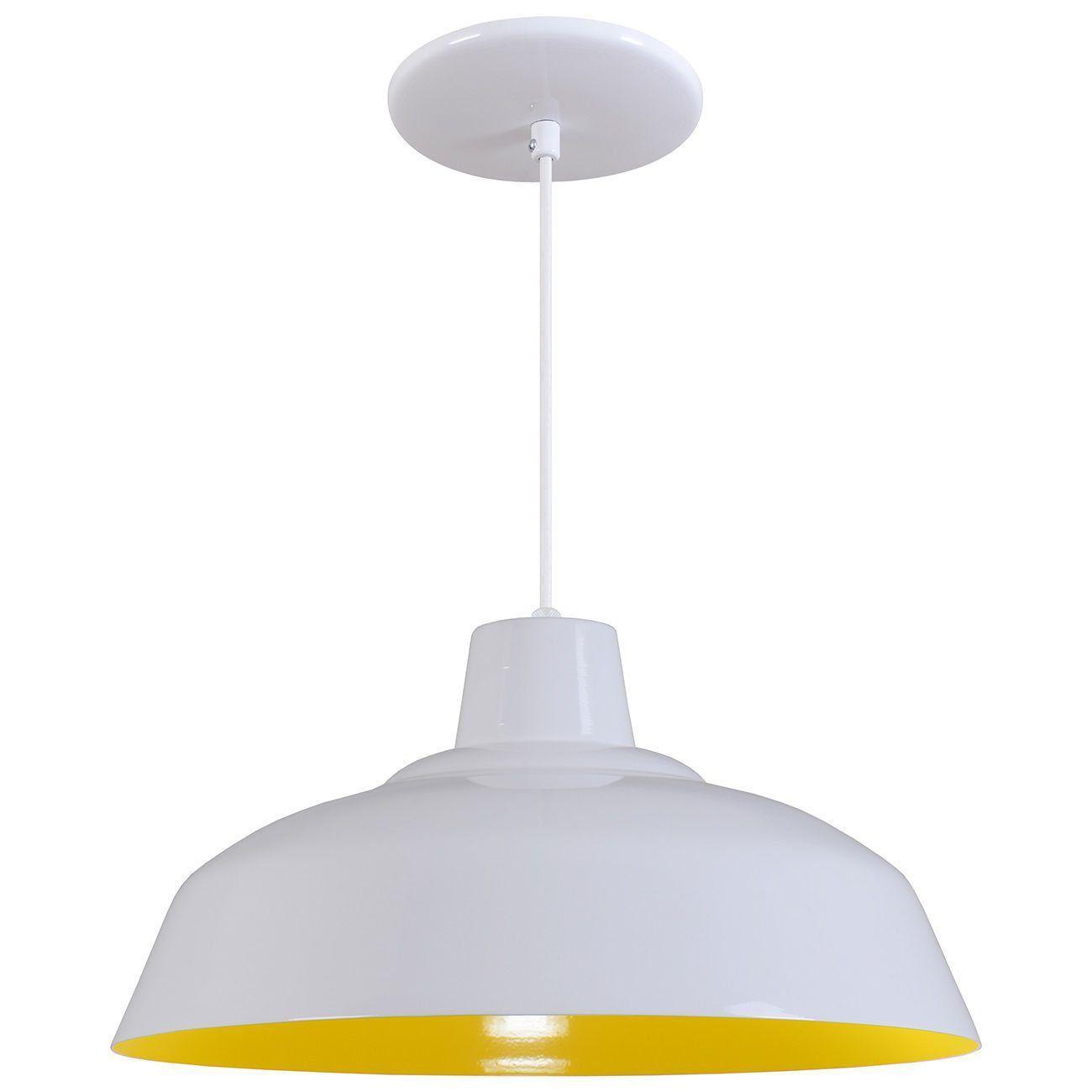 Pendente Retrô 34cm Luminária Lustre Alumínio Branco Brilhante C/ Amarelo - Rei Da Iluminação
