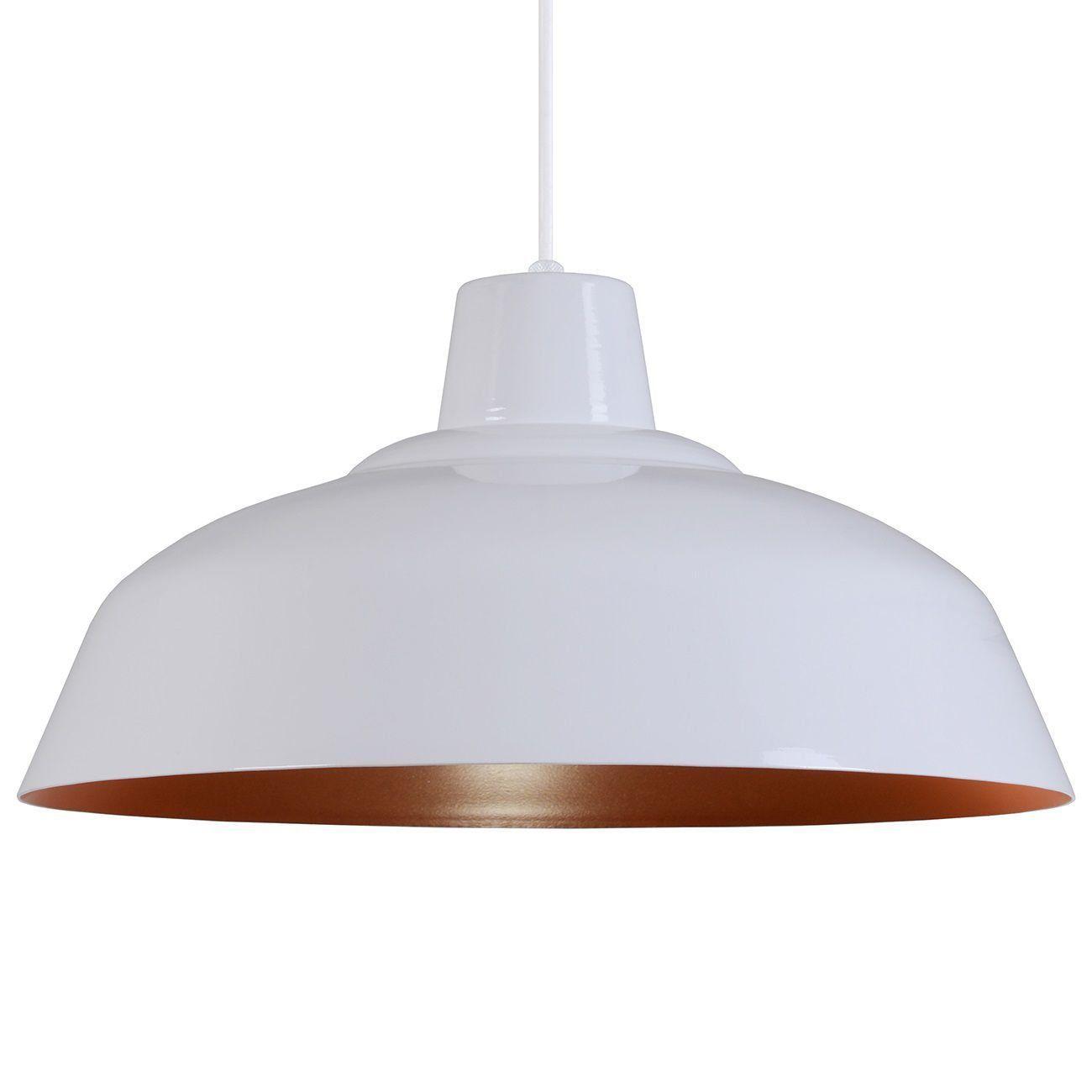 Pendente Retrô 34cm Luminária Lustre Alumínio Branco Brilhante C/ Cobre - Rei Da Iluminação