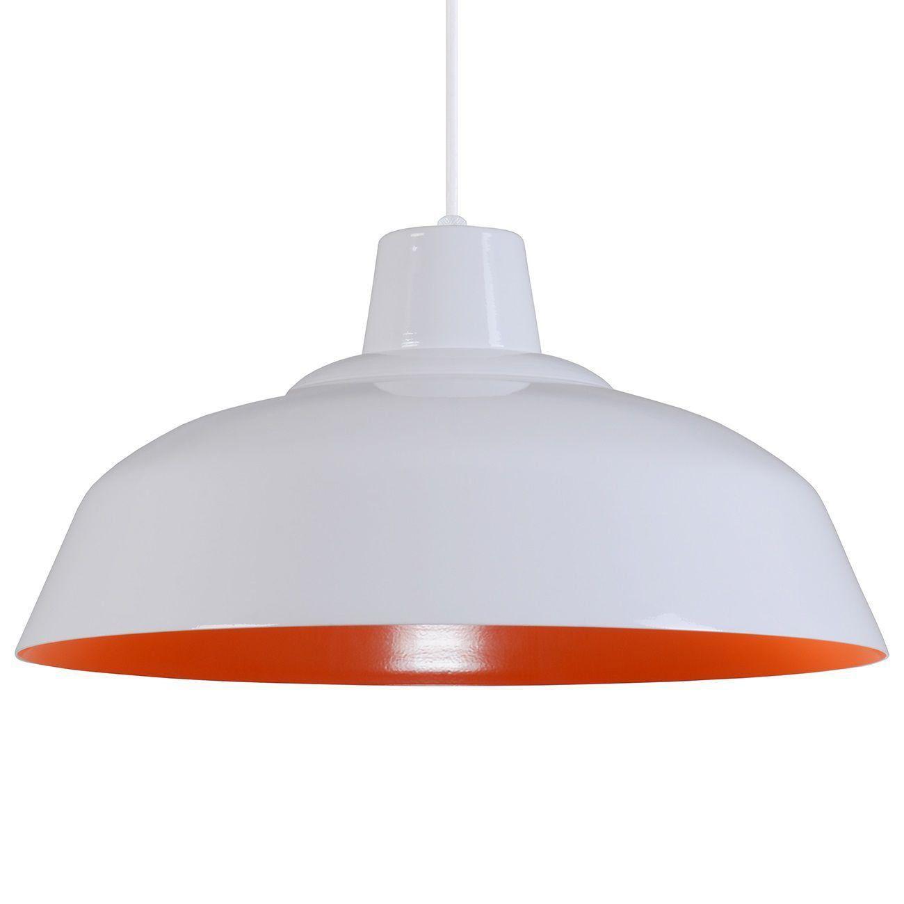 Pendente Retrô 34cm Luminária Lustre Alumínio Branco Brilhante C/ Laranja - Rei Da Iluminação