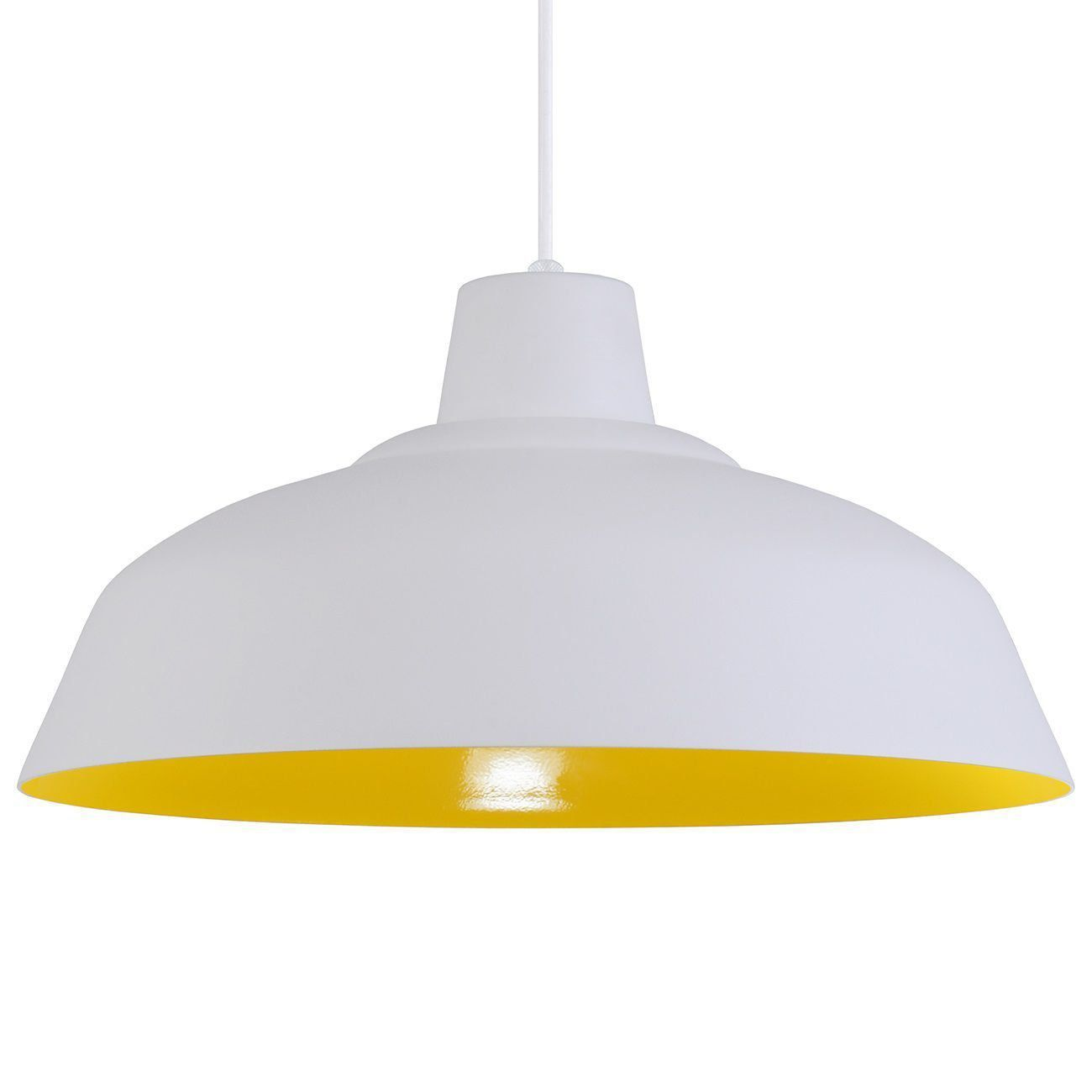 Pendente Retrô 34cm Luminária Lustre Alumínio Branco Textura C/ Amarelo - Rei Da Iluminação