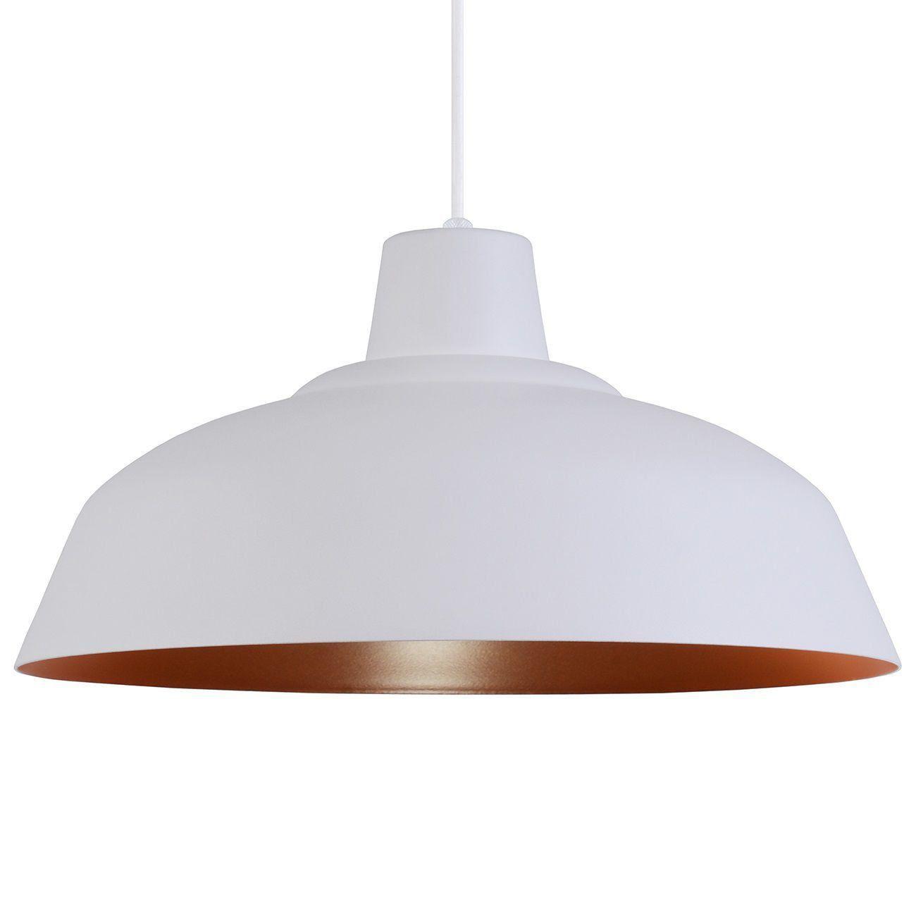 Pendente Retrô 34cm Luminária Lustre Alumínio Branco Textura C/ Cobre - Rei Da Iluminação