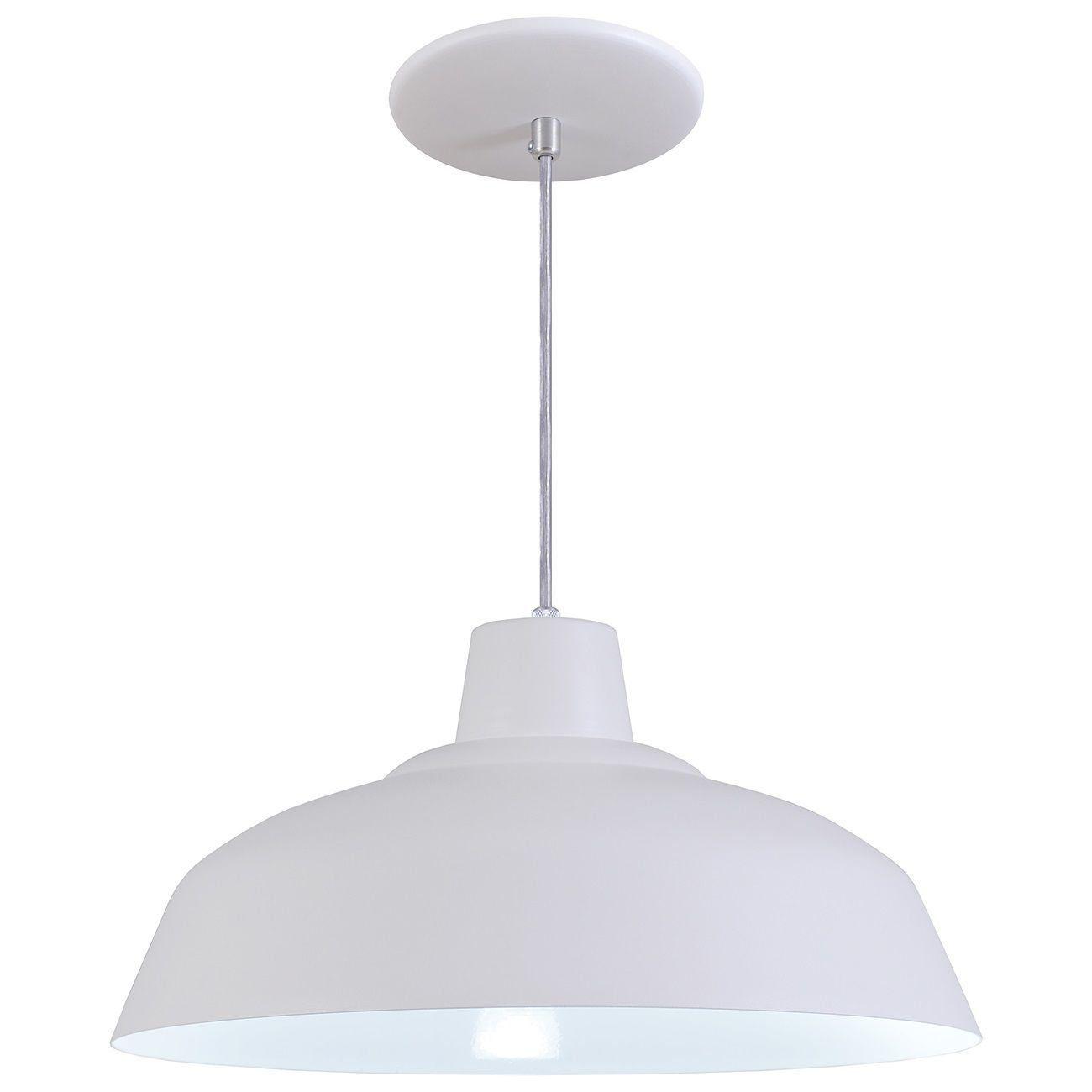 Pendente Retrô 34cm Luminária Lustre Alumínio Branco Textura - Rei Da Iluminação