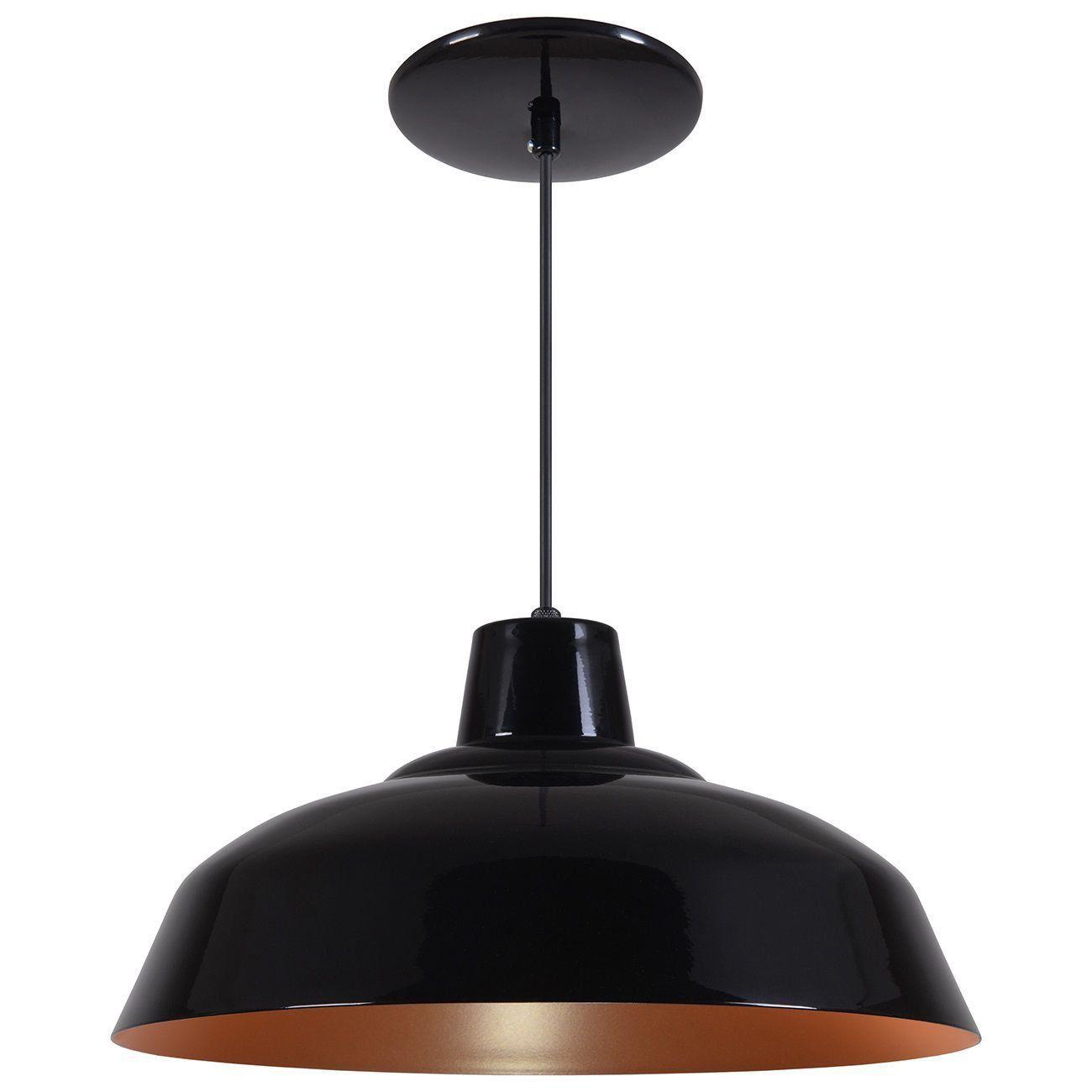 Pendente Retrô 34cm Luminária Lustre Alumínio Preto Brilhante C/ Cobre - Rei Da Iluminação