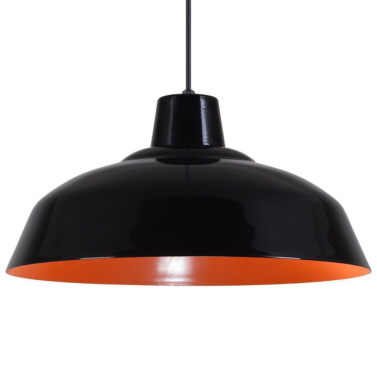 Pendente Retrô 34cm Luminária Lustre Alumínio Preto Brilhante C/ Laranja - Rei Da Iluminação