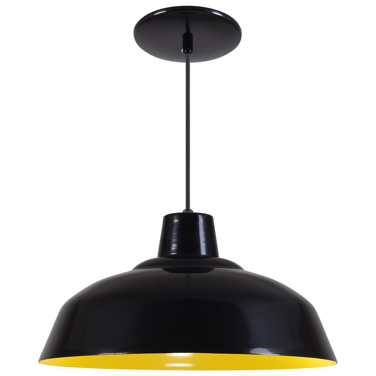 Pendente Retrô 34cm Luminária Lustre Alumínio Preto Fosco C/ Amarelo - Rei Da Iluminação