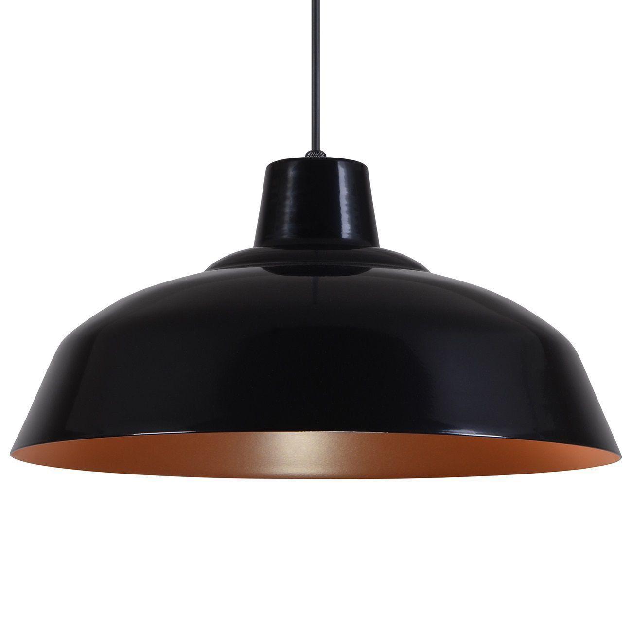 Pendente Retrô 34cm Luminária Lustre Alumínio Preto Fosco C/ Cobre - Rei Da Iluminação
