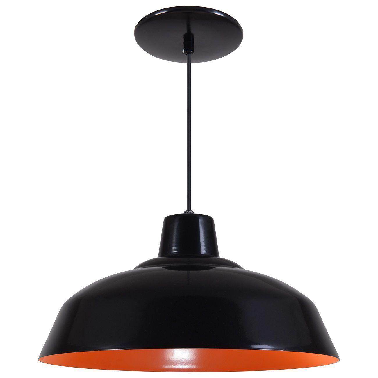 Pendente Retrô 34cm Luminária Lustre Alumínio Preto Fosco C/ Laranja - Rei Da Iluminação
