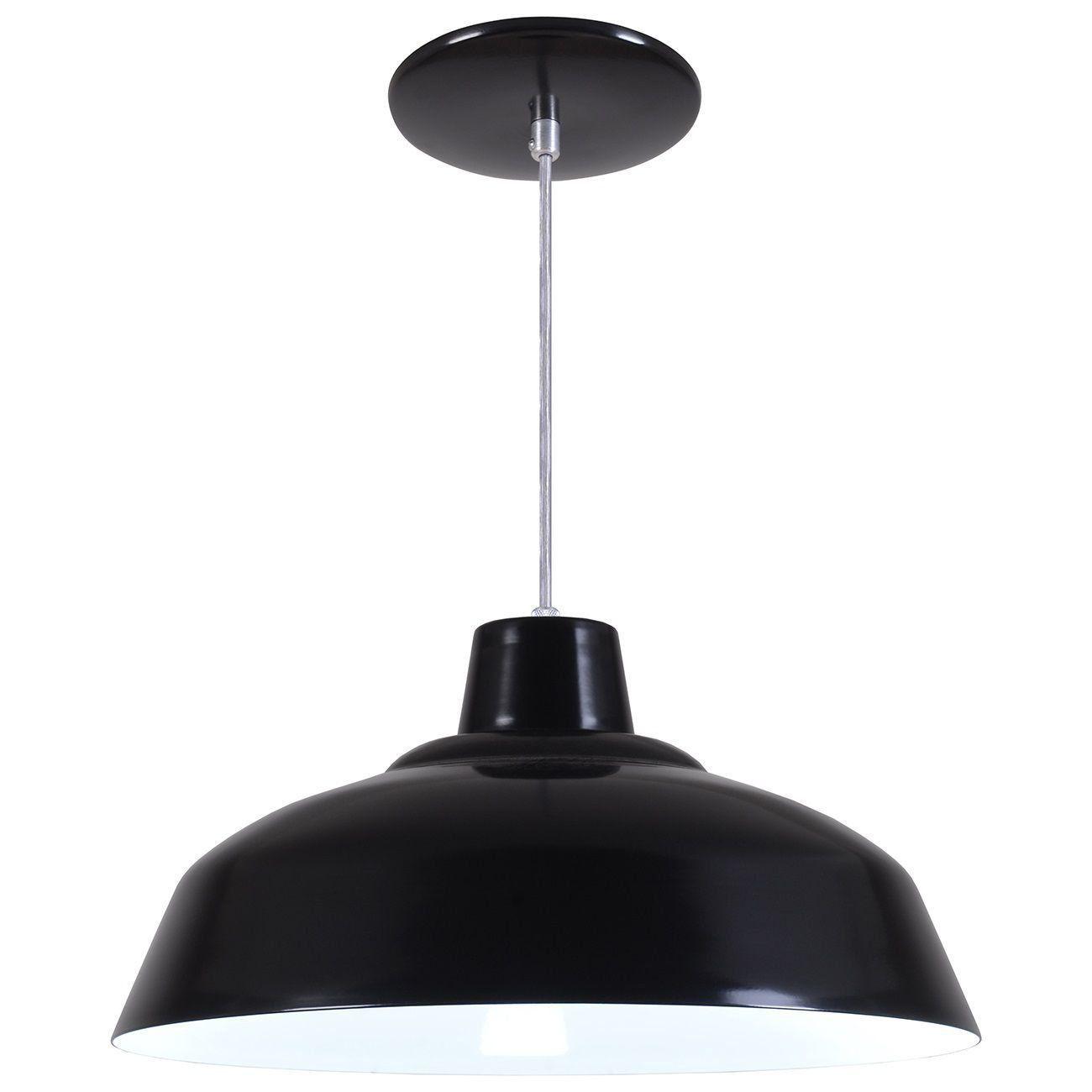 Pendente Retrô 34cm Luminária Lustre Alumínio Preto Fosco - Rei Da Iluminação