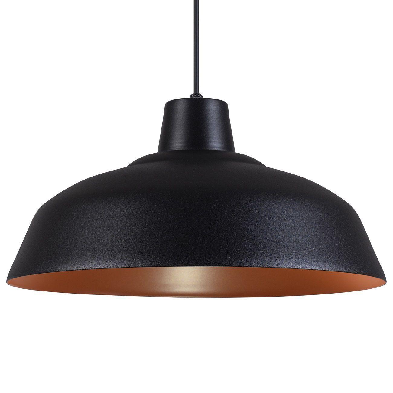 Pendente Retrô 34cm Luminária Lustre Alumínio Preto Textura C/ Cobre - Rei Da Iluminação