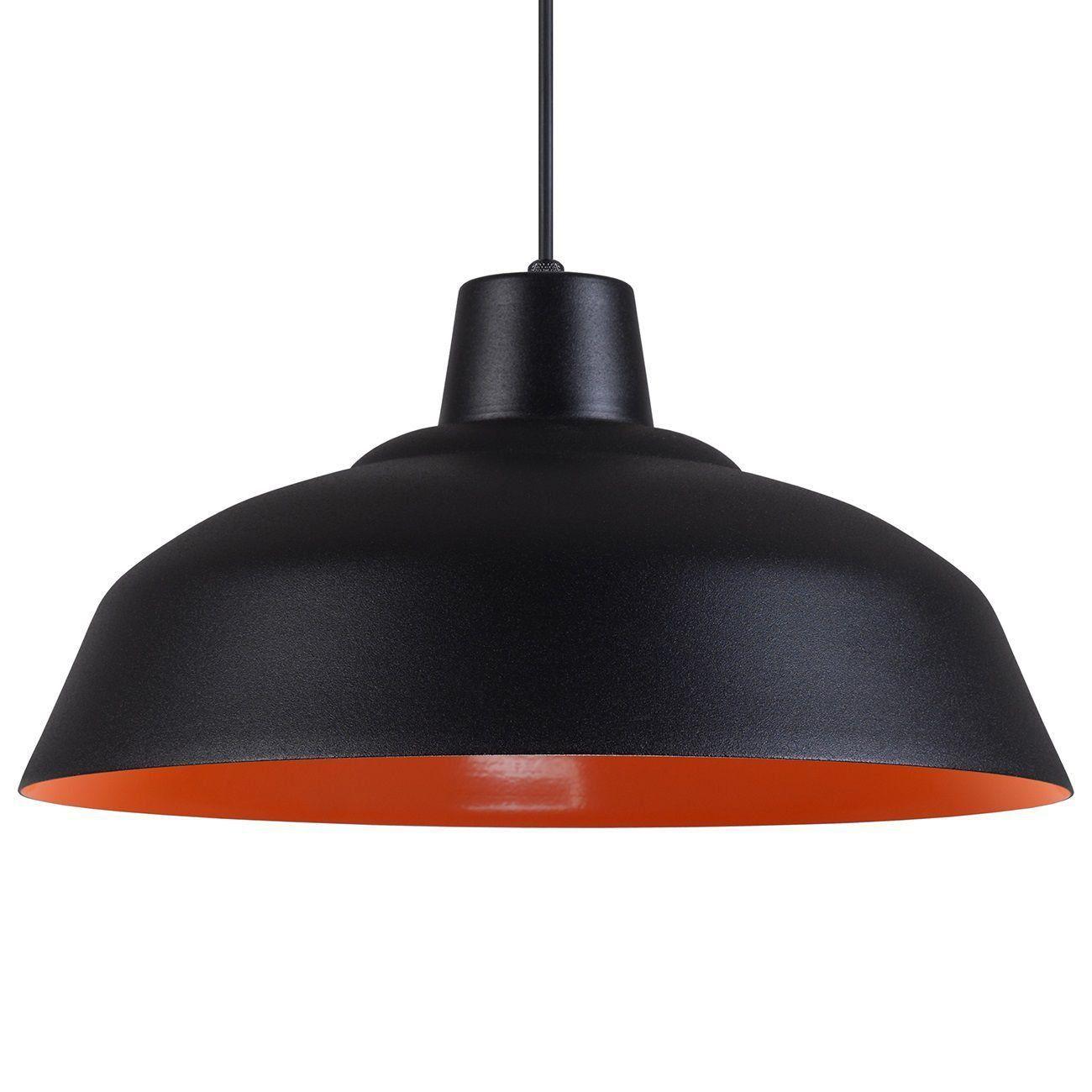 Pendente Retrô 34cm Luminária Lustre Alumínio Preto Textura C/ Laranja - Rei Da Iluminação