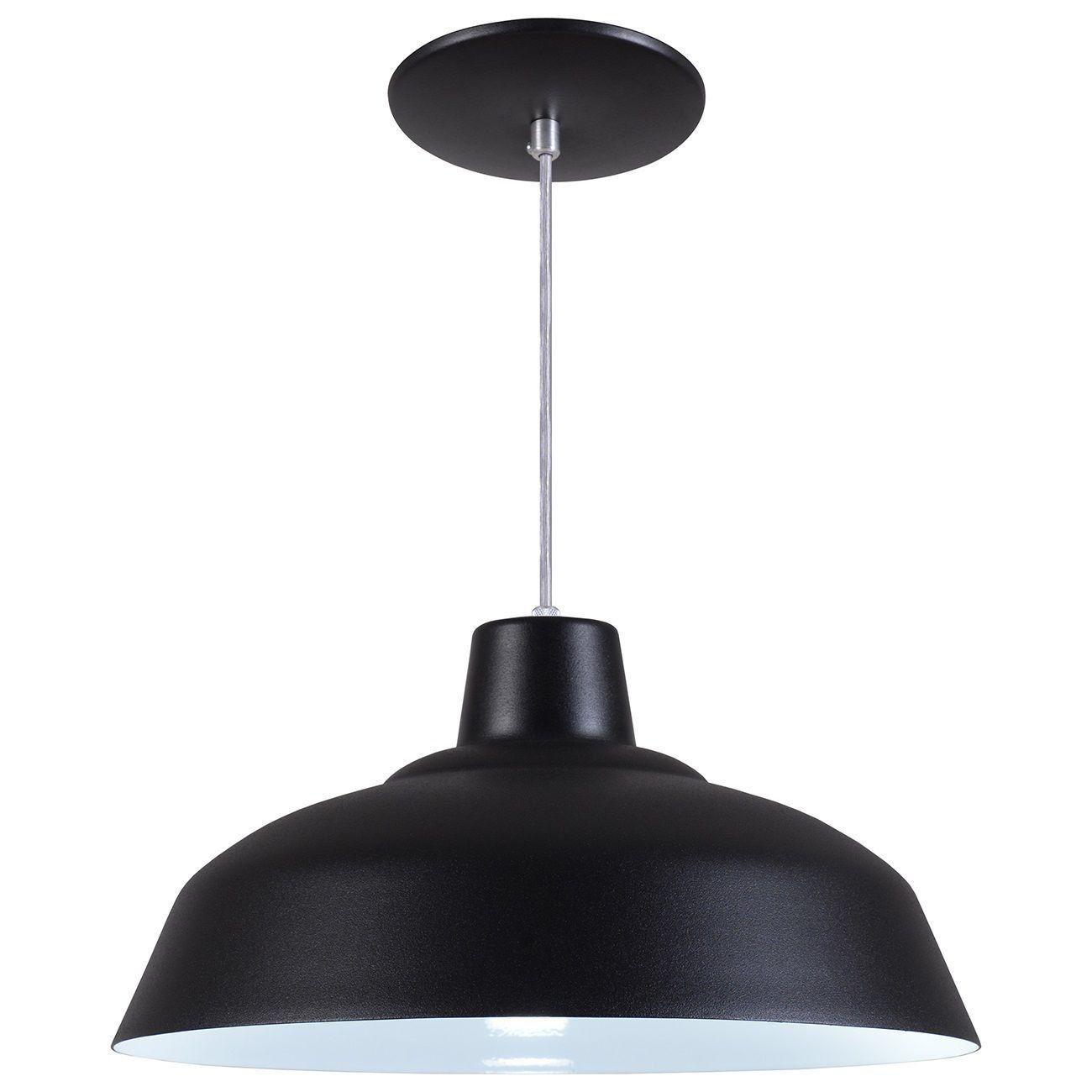 Pendente Retrô 34cm Luminária Lustre Alumínio Preto Textura - Rei Da Iluminação