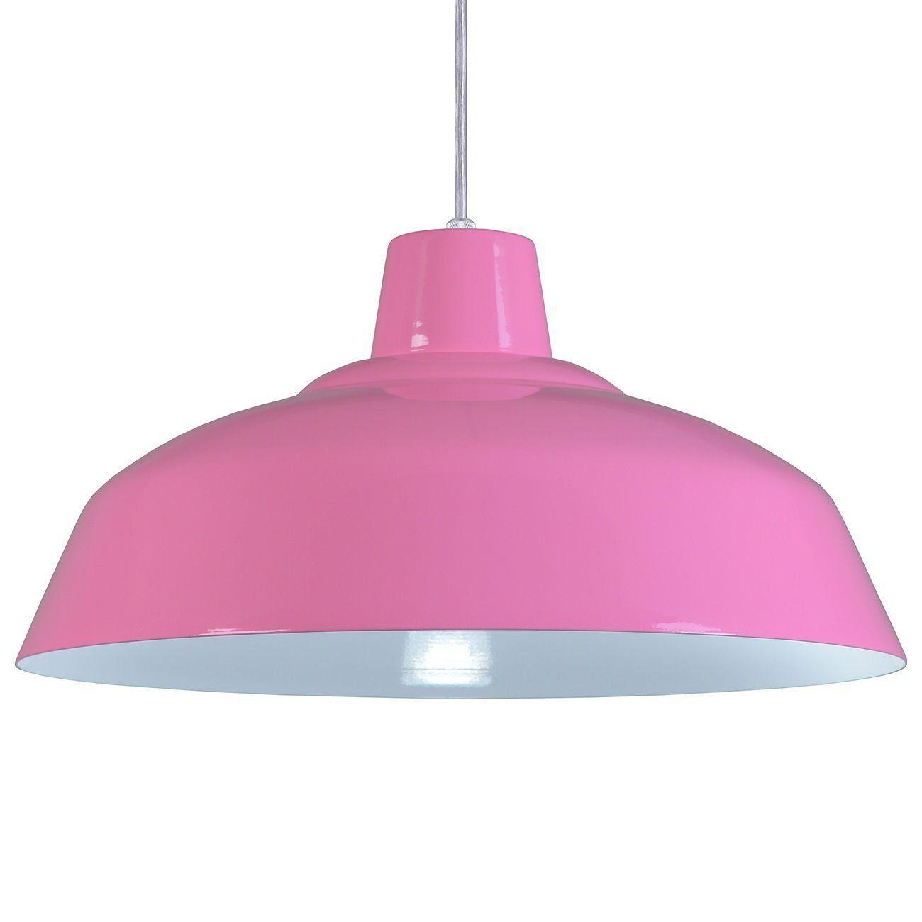 Pendente Retrô 34cm Luminária Lustre Alumínio Rosa - Rei Da Iluminação