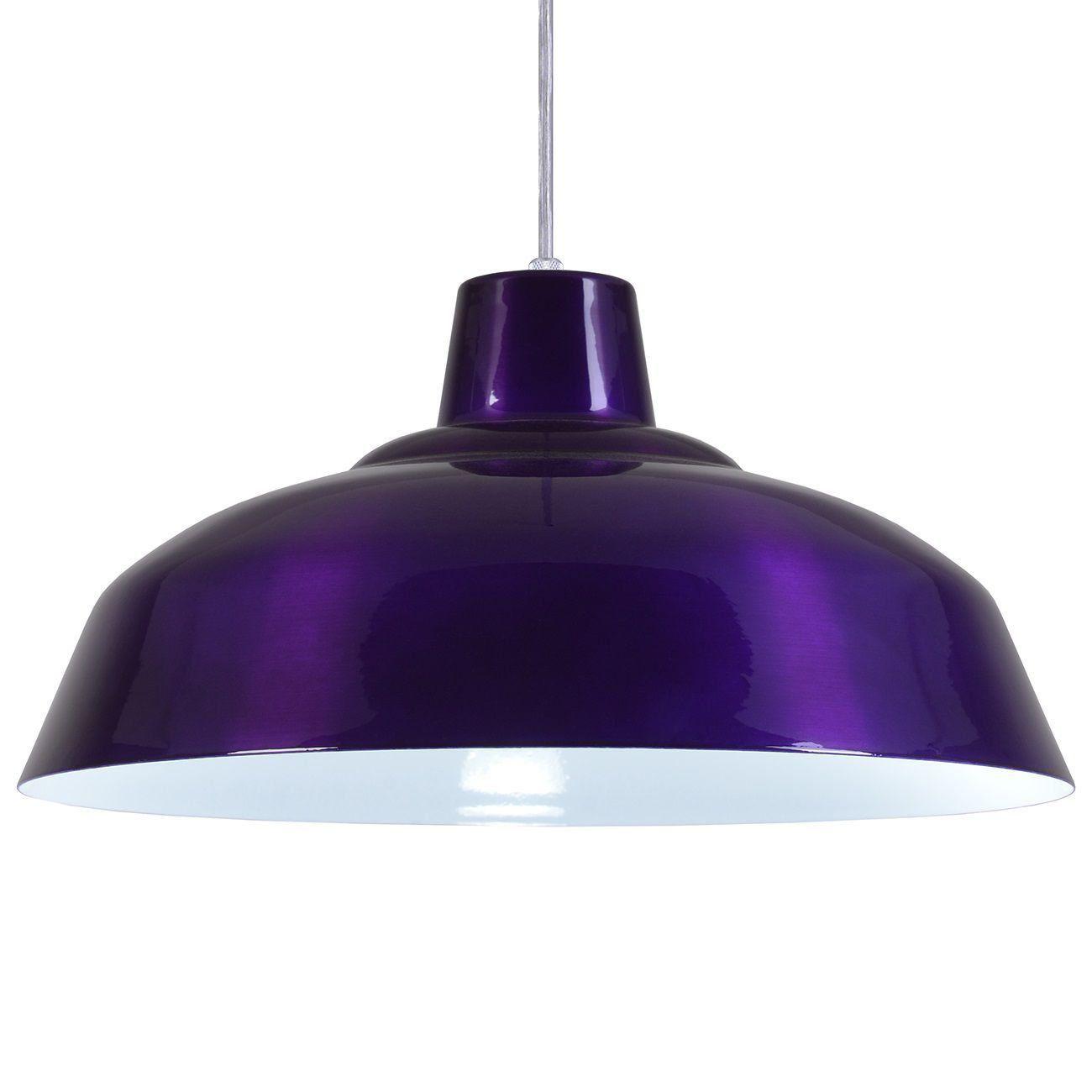 Pendente Retrô 34cm Luminária Lustre Alumínio Roxo Verniz - Rei Da Iluminação