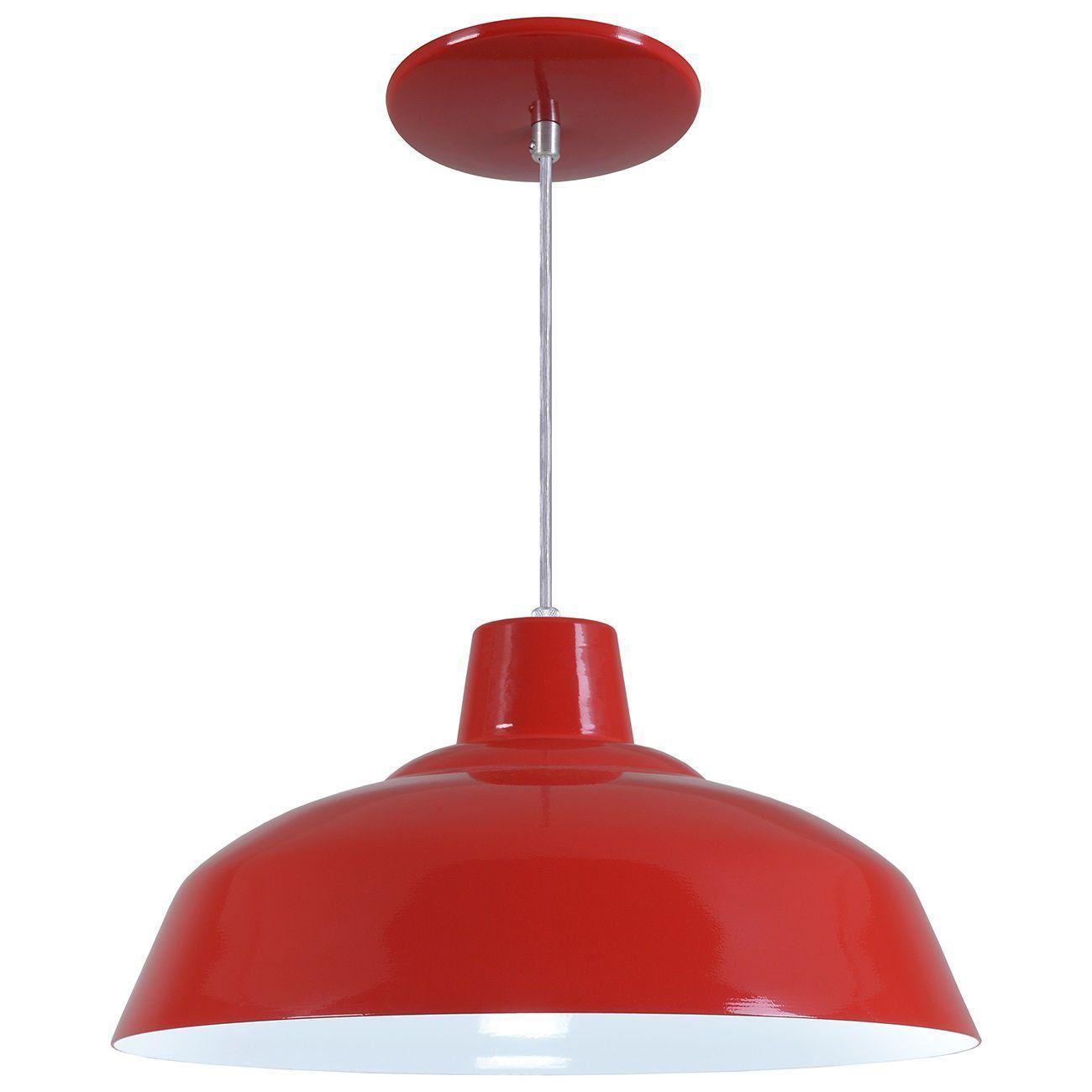 Pendente Retrô 34cm Luminária Lustre Alumínio Vermelho - Rei Da Iluminação