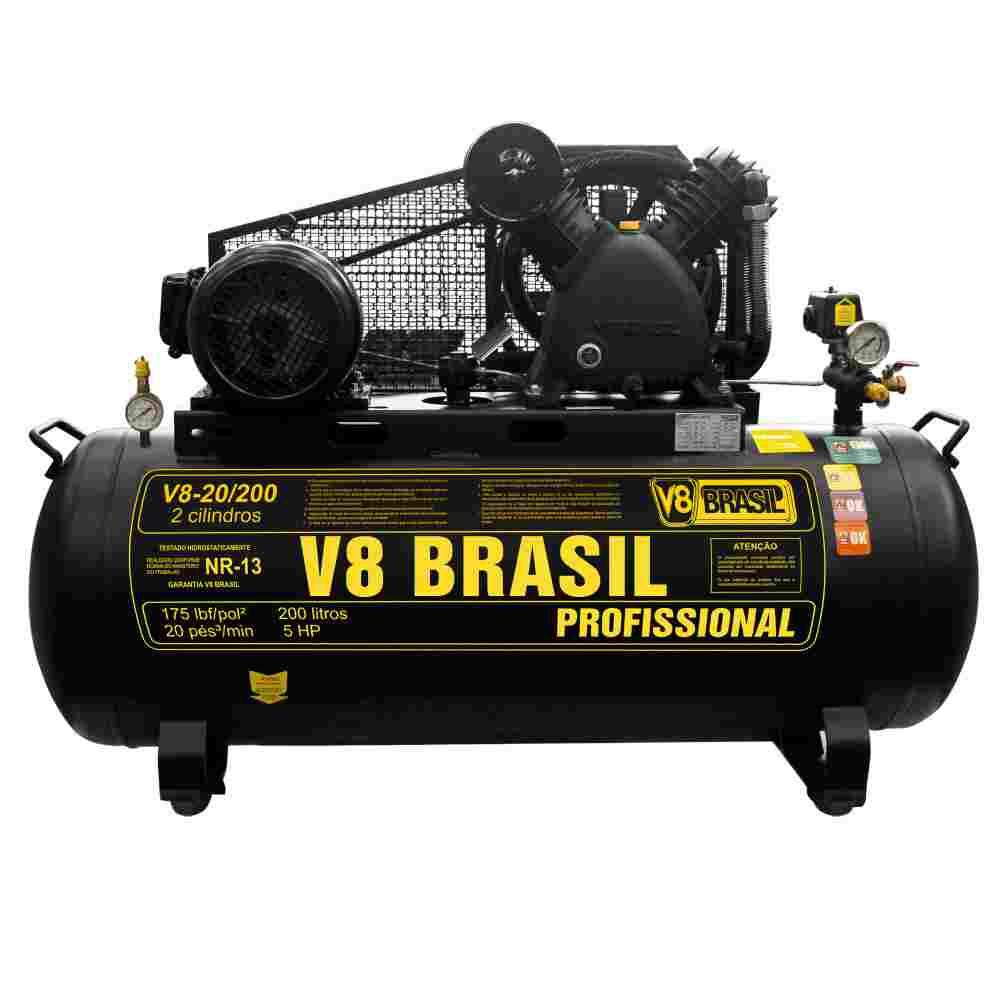 COMPRESSOR DE AR 200L/20 PES 175PSI-5HP-60HZ-220V/380V TRIFASICO MARCA V8 26809