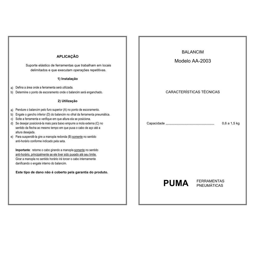 VISTA EXPLODIDA PEÇAS PNEUMÁTICAS P/ BALANCIM - AA-2003 - PUMA