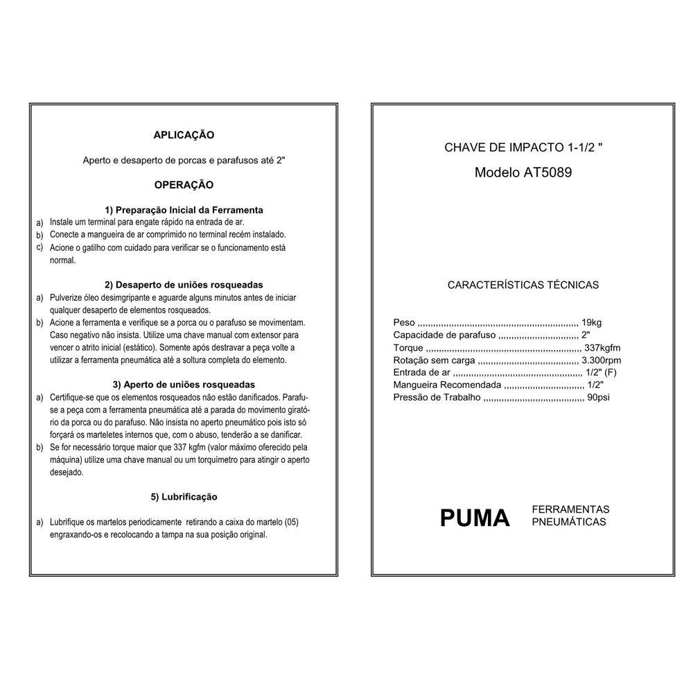 VISTA EXPLODIDA PEÇAS PNEUMÁTICAS P/ CHAVE DE IMPACTO 1.1-2 POL - AT-5089 - PUMA