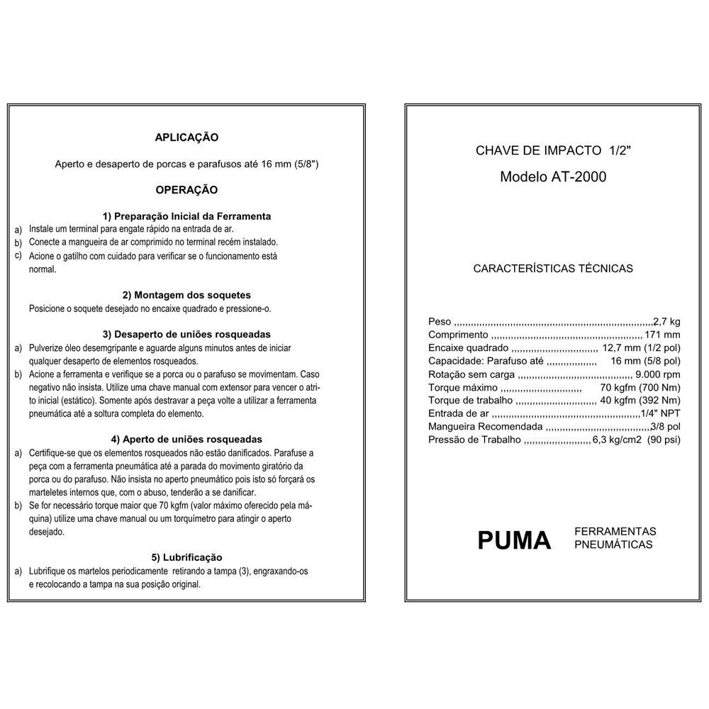 VISTA EXPLODIDA PEÇAS PNEUMÁTICAS P/ CHAVE DE IMPACTO 1-2POL - AT-2000 - PUMA