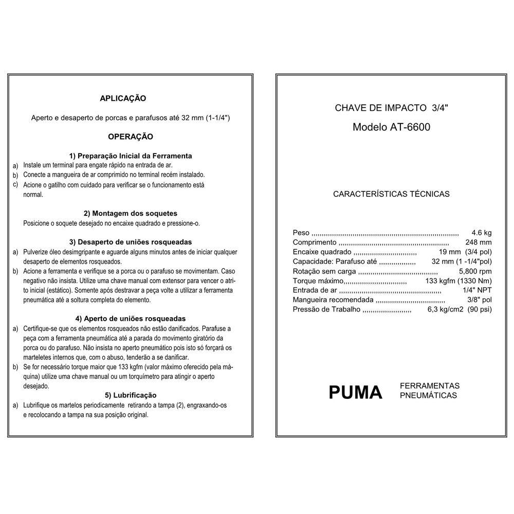 VISTA EXPLODIDA PEÇAS PNEUMÁTICAS P/ CHAVE DE IMPACTO 3-4 POL- AT-6600 - PUMA