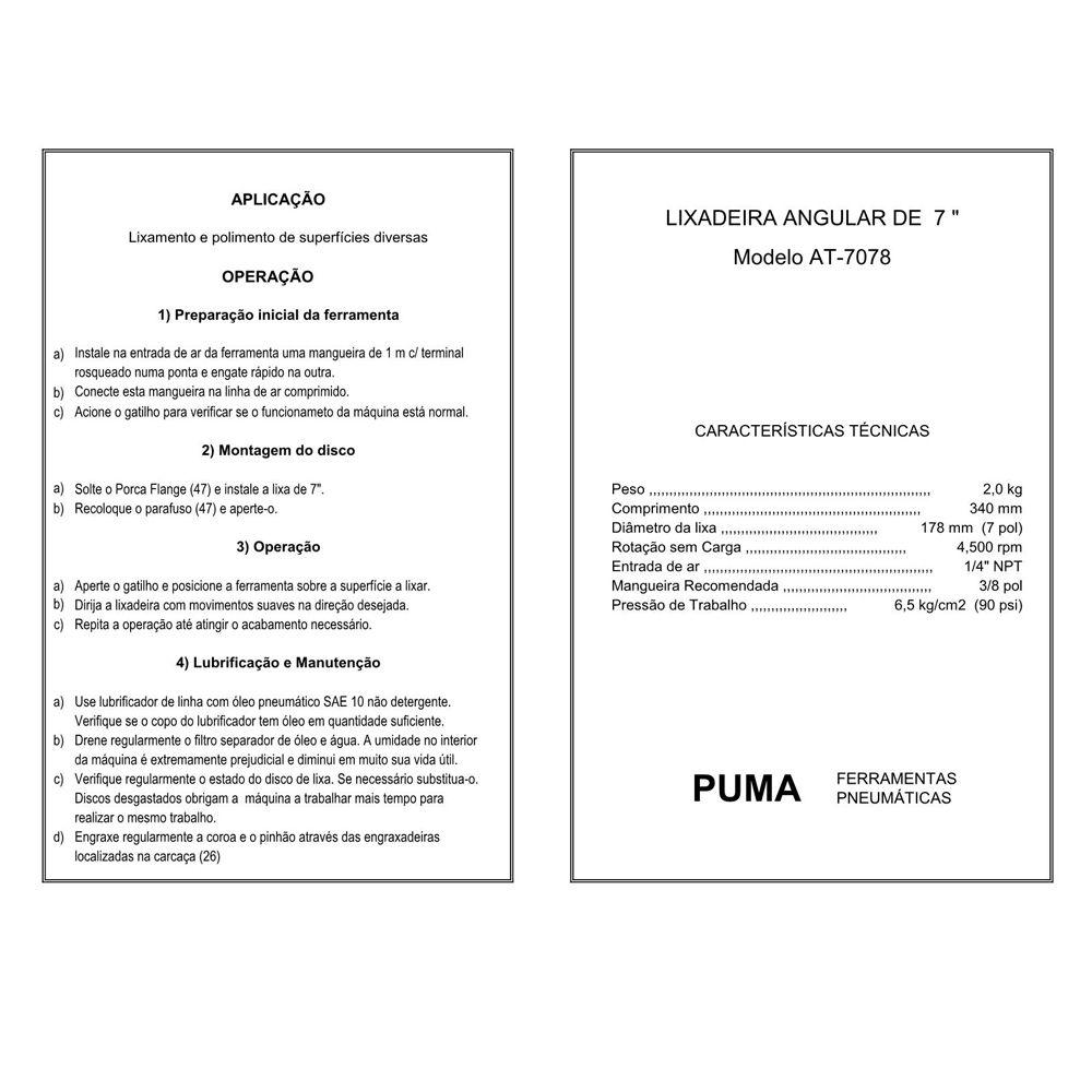 VISTA EXPLODIDA PEÇAS PNEUMÁTICAS P/ LIXADEIRA ANGULAR DE 7 POL - AT-7078 - PUMA
