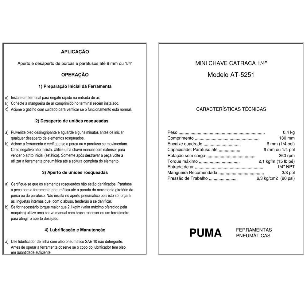 VISTA EXPLODIDA PEÇAS PNEUMÁTICAS P/ MINI CHAVE DE CATRACA 1-4 POL - AT-5251 - PUMA