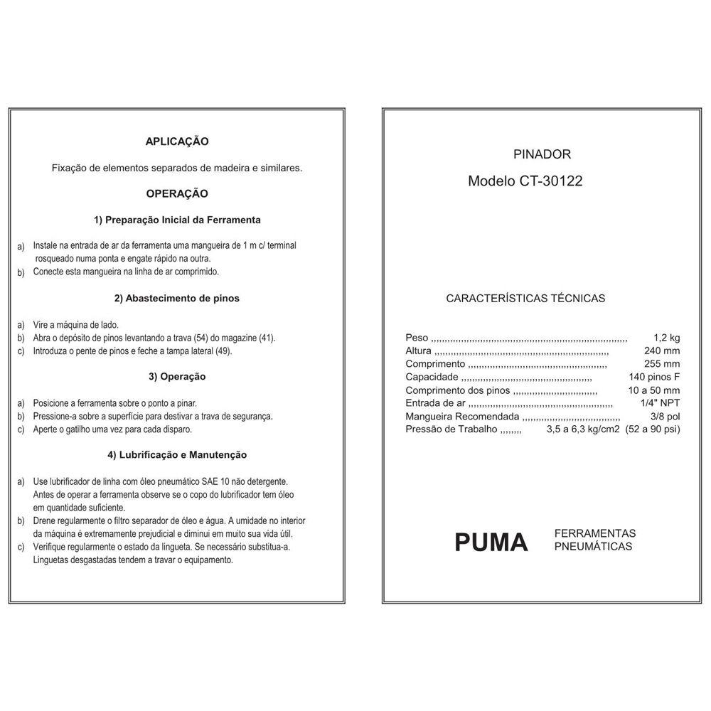 VISTA EXPLODIDA PEÇAS PNEUMÁTICAS P/ PINADOR - CT30122 - PUMA