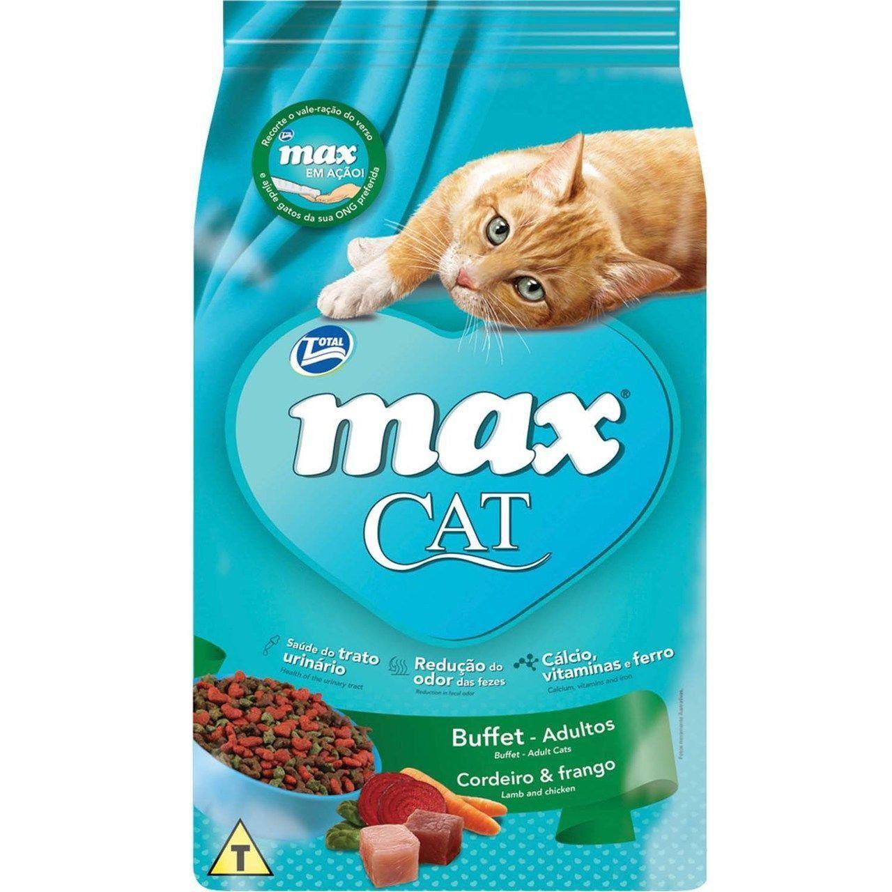 RAÇÃO MAX CAT BUFFET PARA GATOS ADULTOS CORDEIRO E FRANGO 20KG