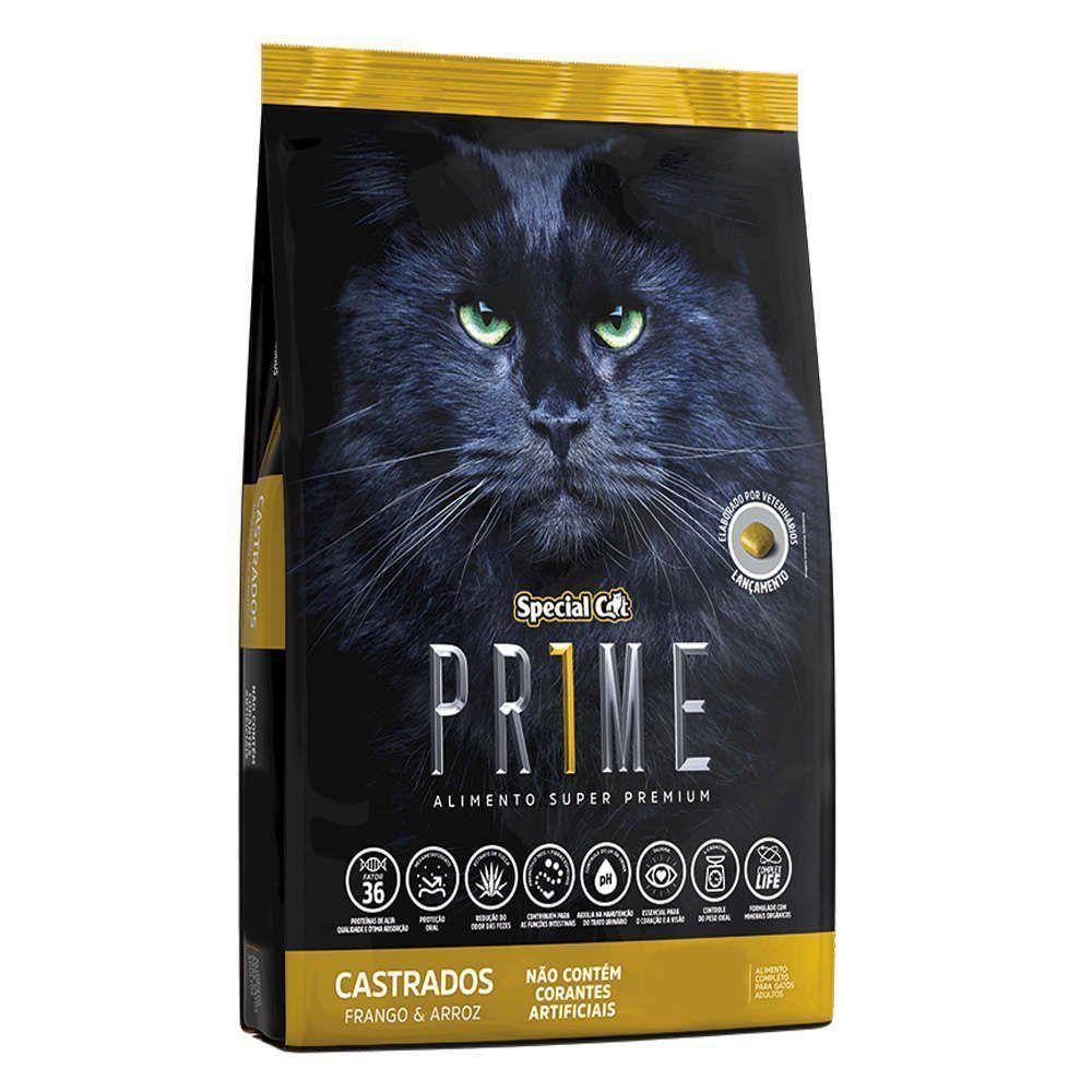 RAÇÃO SPECIAL CAT PRIME FRANGO E ARROZ PARA GATOS ADULTOS CASTRADOS 3kg