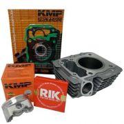 Kit Completo Pistão Cilindro Kmp Premium Anéis Rik Cg 150 Bros 150 P/ 220cc