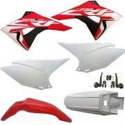 Kit Plástico Crf 230 Avtec Com Aleta Biker F19 + Par De Adesivos