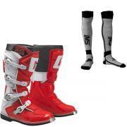 Bota Gaerne Gx1 Goodyear Vermelho Com Meião Motocross Enduro Trilha