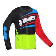 Camisa Ims Flex Amarelo Fluor / Vermelho / Azul Motocross Trilha