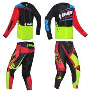 Conjunto Ims Calça Sprint e Camisa Flex Flúor Preto Vermelho Motocross Trilha