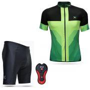 Conjunto Mattos Bermuda Camisa Amarelo Verde Ciclismo
