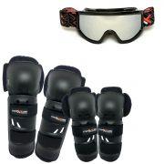 Kit Proteção Mattos Joelho e Cotovelo Com Óculos Espelhado