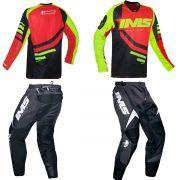 Kit Roupa Ims Camisa Sprint Calça Flex Preto Vermelho Motocross Trilha