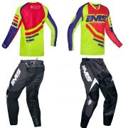 Kit Roupa Ims Camisa Sprint Calça Flex Vermelho Flúor Preto Motocross Trilha