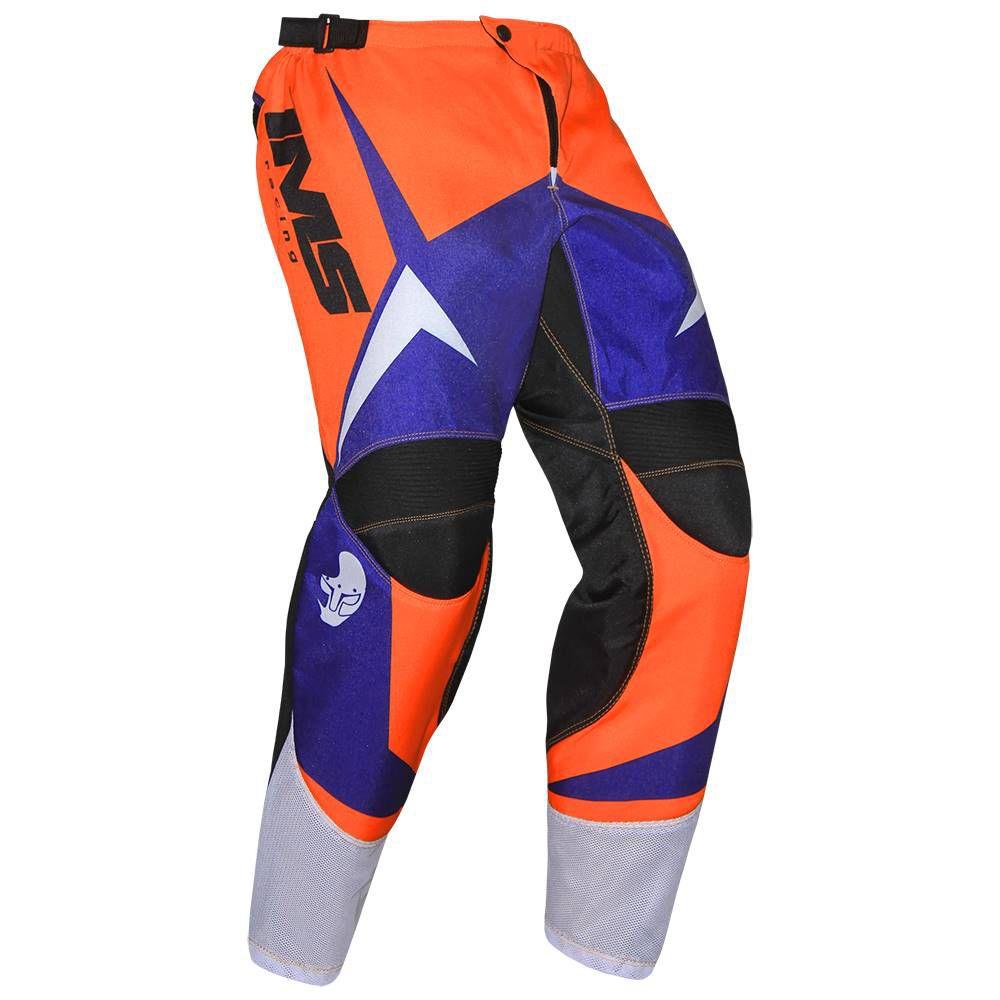 Calça Ims Flex Laranja Azul Motocross Trilha Enduro