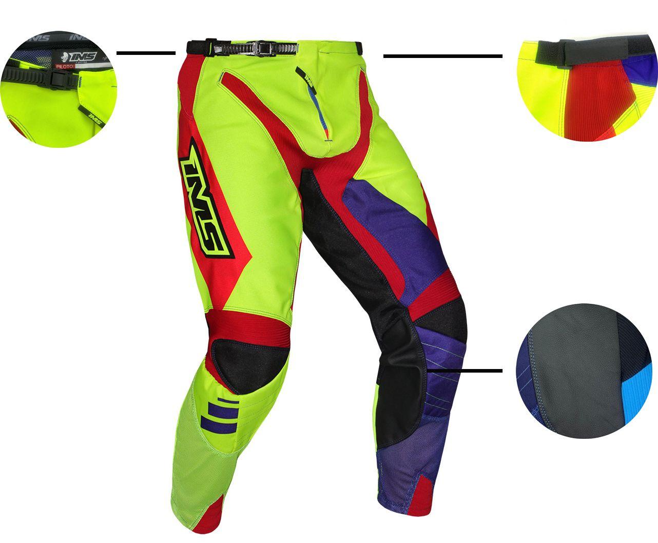 Calça Ims Sprint Azul Royal Vermelha E Amarelo Fluor Motocross Trilha