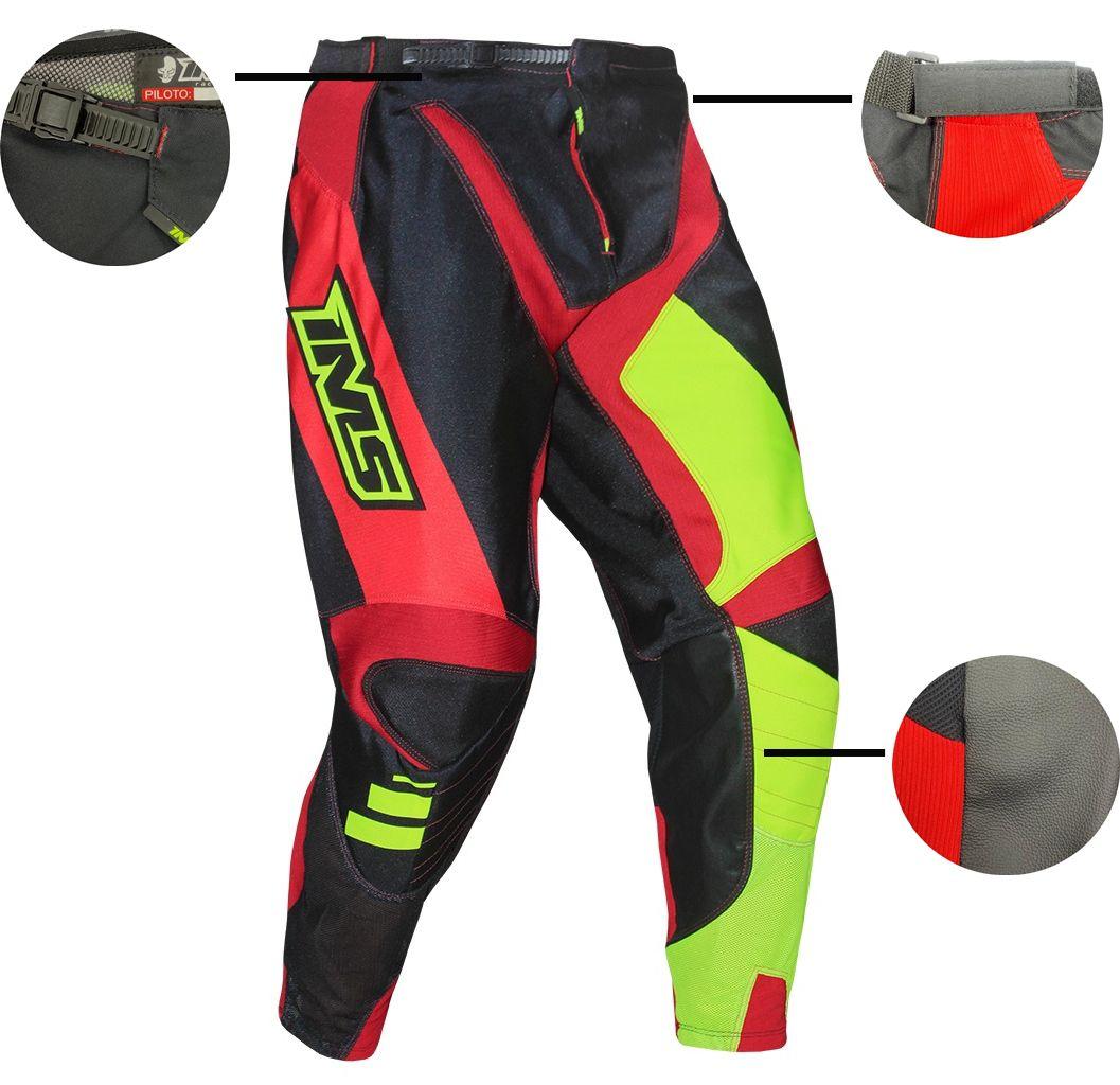 Calça Ims Sprint Preto / Vermelho / Amarelo Fluor Velocross Motocross Trilha