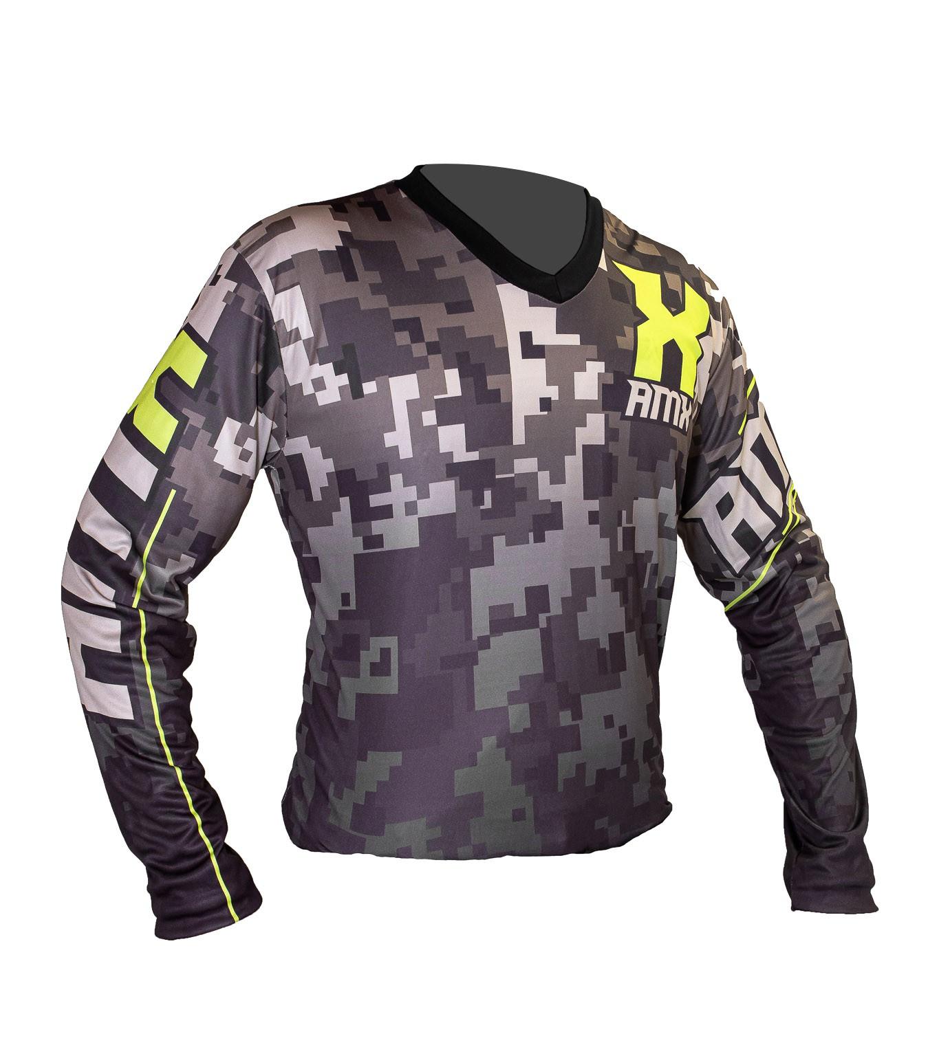 Camisa Amx Camuflada Trilha Motocross Verde Neon