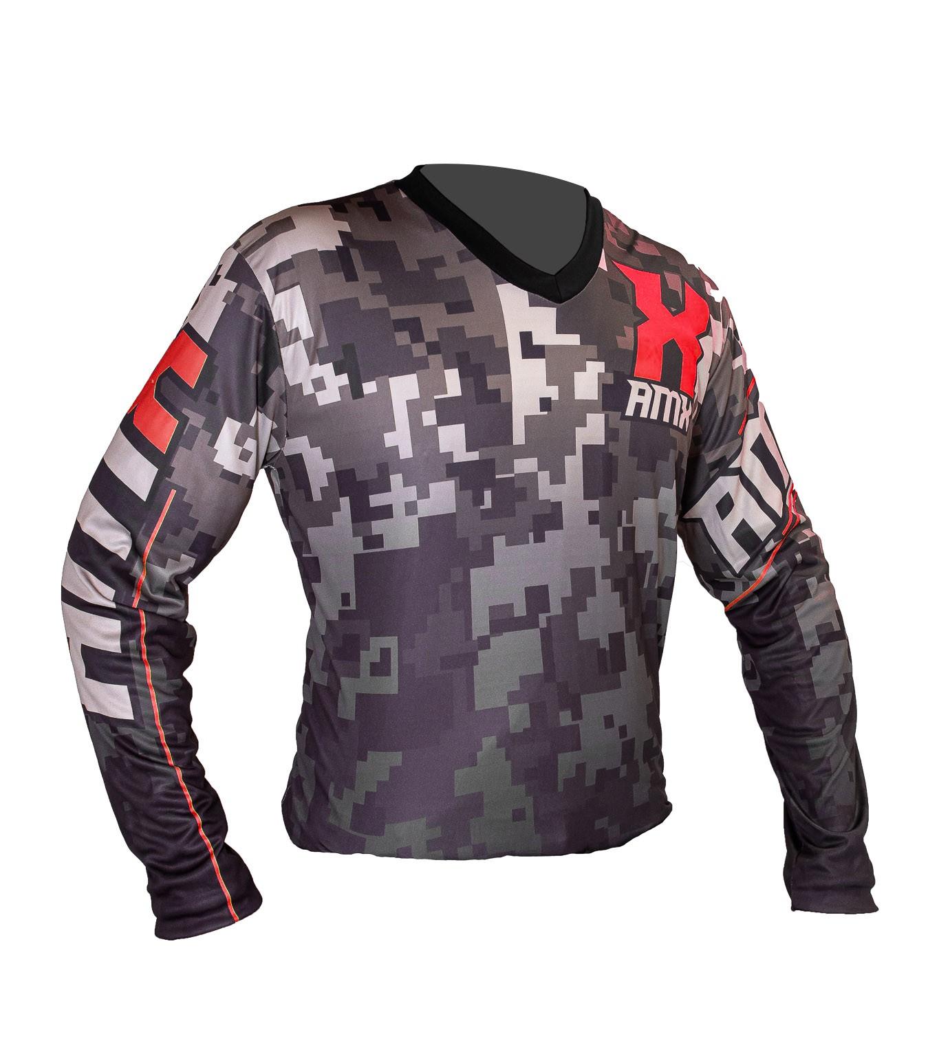 Camisa Amx Camuflada Trilha Motocross Vermelho