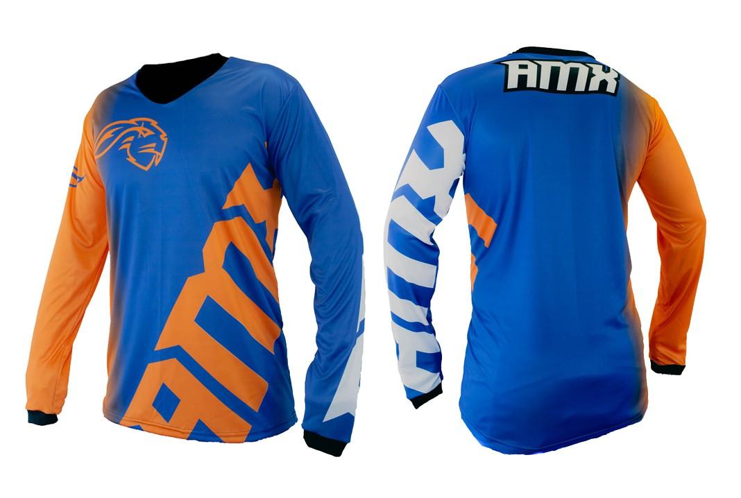 Camisa Amx Classic Extreme Azul Laranja Motocross Trilha