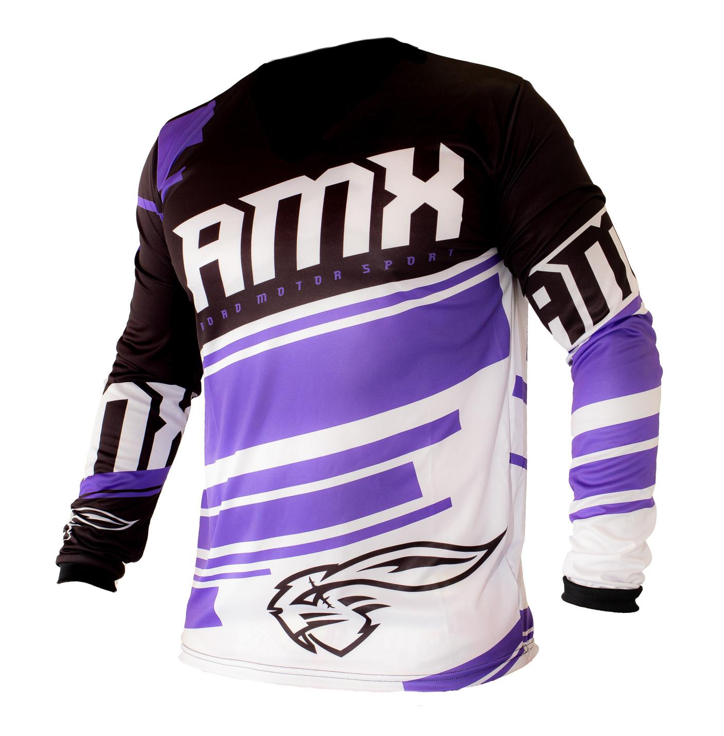 Camisa Amx Classic Roxo Preto Trilha Motocross