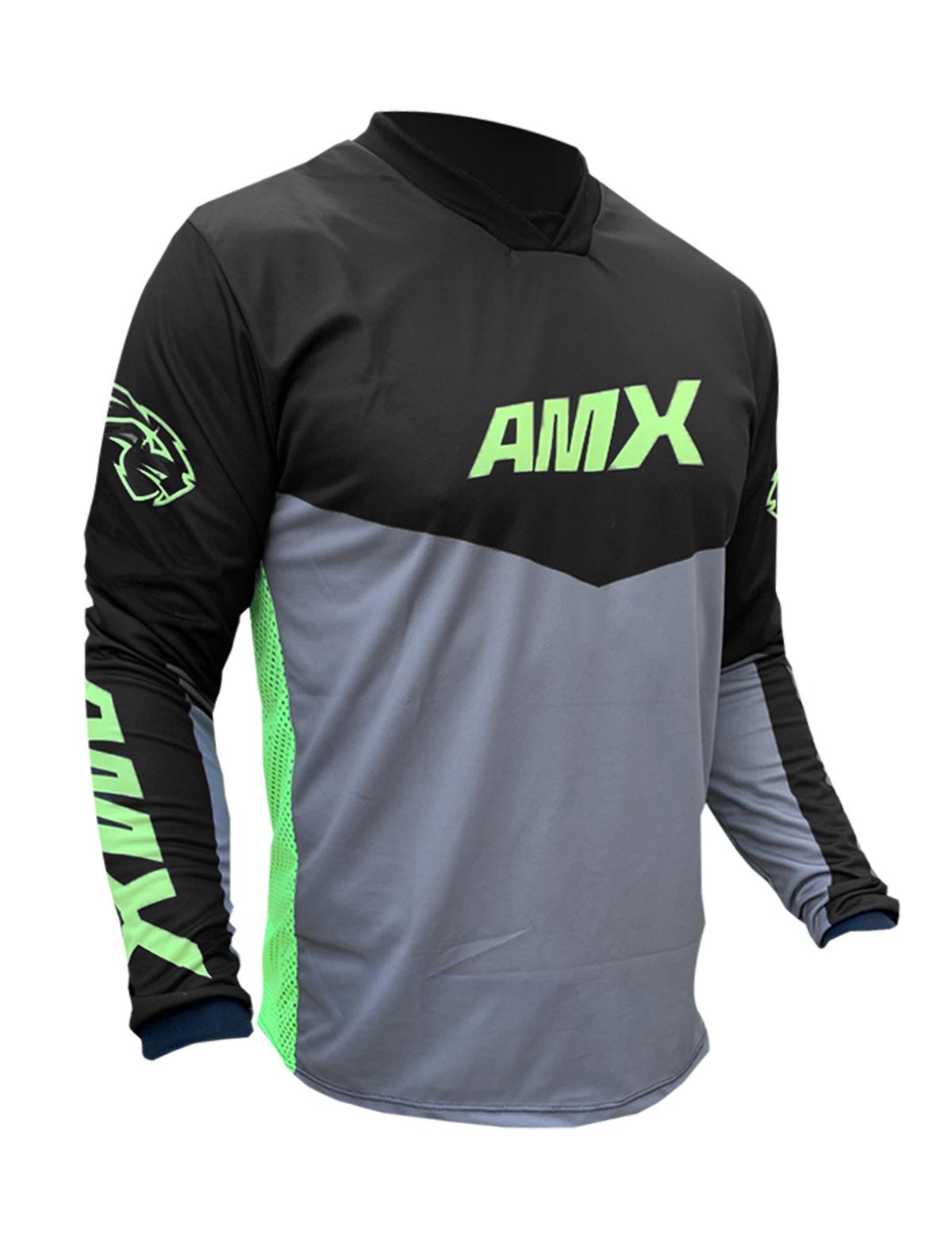 Camisa Amx Prime Cross Preto Neon Trilha Motocross