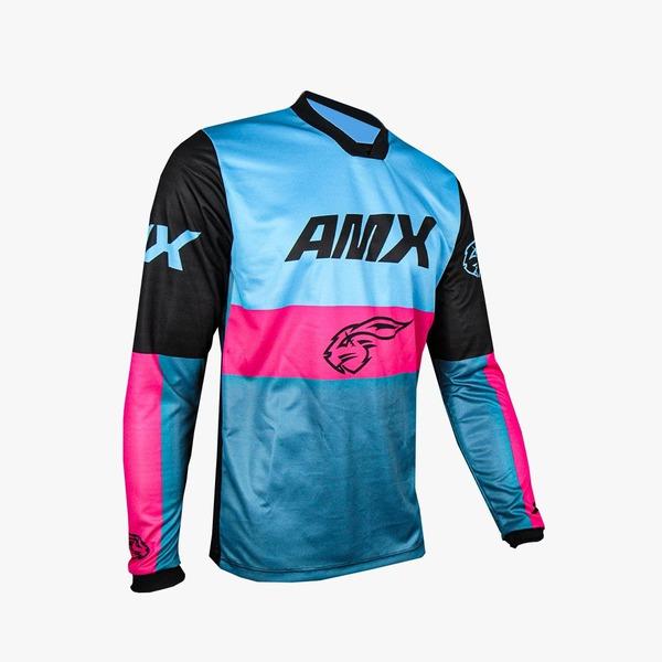 Camisa Amx Prime Race Rosa Azul Trilha Motocross
