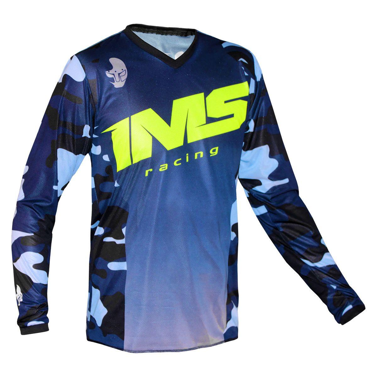 Camisa Ims Army Azul Camuflado Motocross Trilha